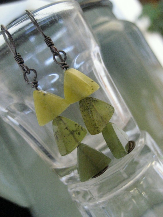 Evergreen Pine Earrings Jade and Copper Rustic Jade Green Dangle