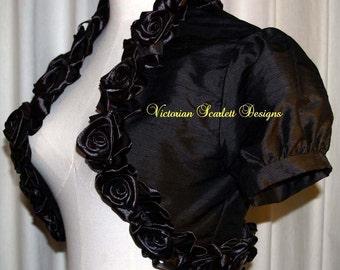 SALE Victorian Gothic Black Silk Bolero Jacket Shrug Bridal Puffed Short Sleeves Satin Roses S M Handmade by Victorian Scarlett Designs