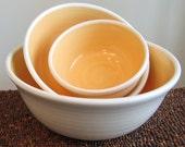 Sunflower Yellow Nesting Bowl Set - Stoneware Pottery Bowls