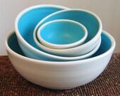 Turquoise Nesting Bowls - Large Set