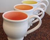 Large Mugs in Summer Fruit Colors 16 oz. Set of Four Stoneware Pottery Mugs