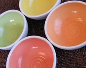 Summer Fruits Soup or Cereal Bowls - Set of 4 Pottery Bowls