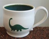 Brontosaurus Mug - Large Dinosaur Stoneware Pottery Coffee Mug 18 oz.