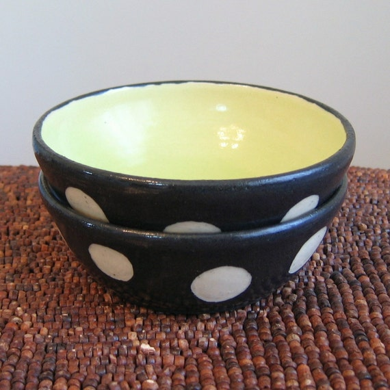 Set of 2 Small Black and White Polka Dot Prep Bowls with Lime