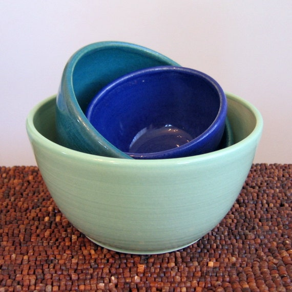 Cool Tones Nesting Bowls - Small Set of Stoneware Pottery Bowls for Prep