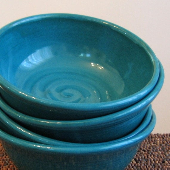 Soup or Cereal Bowls in Peacock Blue - Set of 4 Stoneware Pottery Bowls