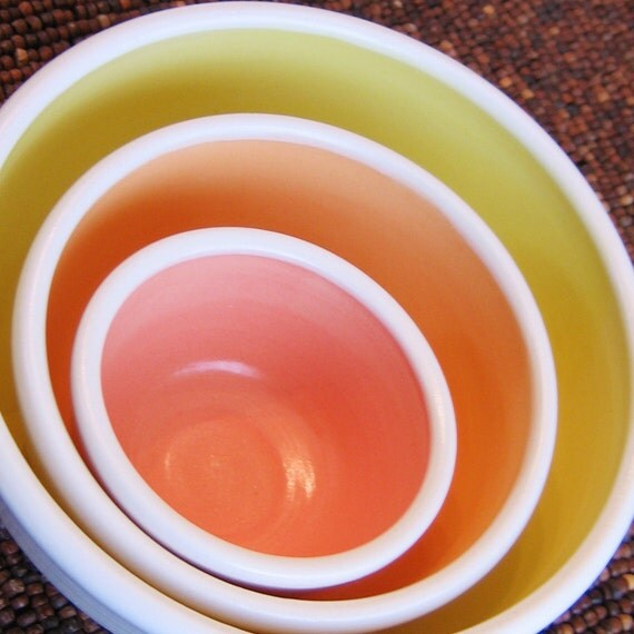 Nesting Bowls in Warm Tones - Summery Stoneware Pottery Set