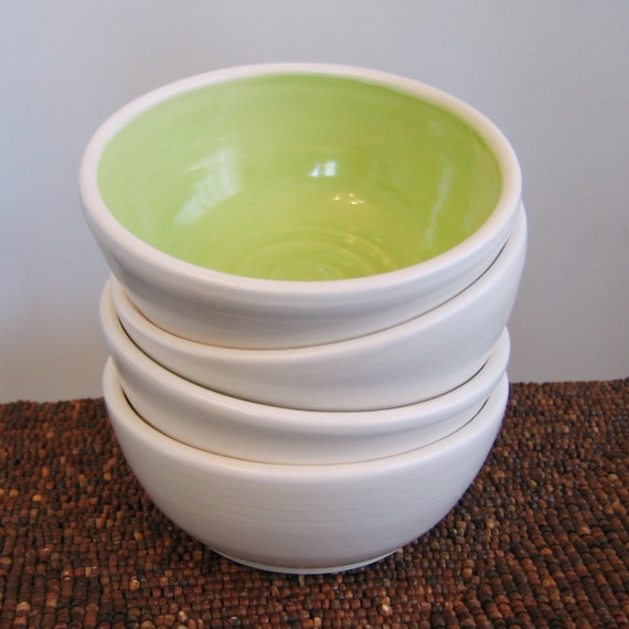 Soup or Cereal Pottery Bowls in Lime Green - Set of 4 Stoneware Ceramic Bowls
