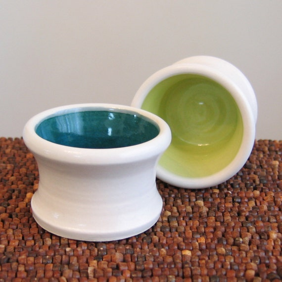 Set of 2 Pottery Shot Glasses in Lime Green and Peacock Blue