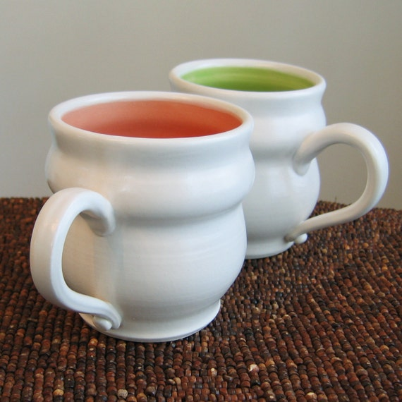 Pottery Mugs in Watermelon and Lime - Set of Two Summery Stoneware Coffee Mugs