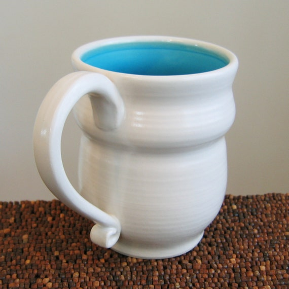 Pottery Mug in Turquoise Blue 14 oz. Stoneware Ceramic Coffee Mug