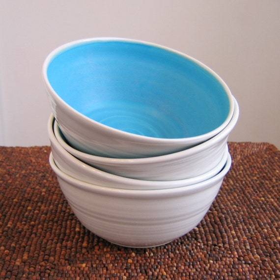 Set of Four Turquoise Bowls