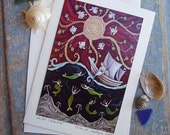 Sailor Loves mermaid     Wedding Love Greeting Card       Art by DEE