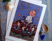 FOLK ART Mermaid  Greeting Card by Dee Sprague