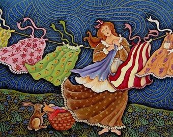 Wild Washer Woman  Archival Print from an Original Oil Painting by Dee Sprague