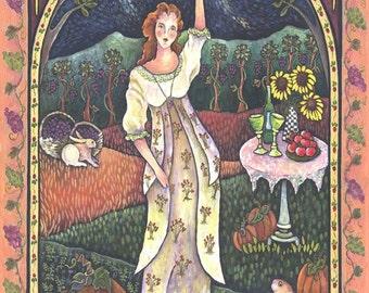 Wine Harvest Maiden Large Paper Print