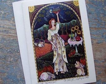 MOONLIGHT HARVEST MAIDEN KEEPSAKE GREETING CARD by Dee Sprague