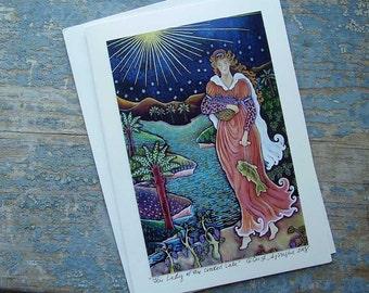 RENAISSANCE LADY OF THE  LAKE  Keepsake   GREETING CARD  By DEE