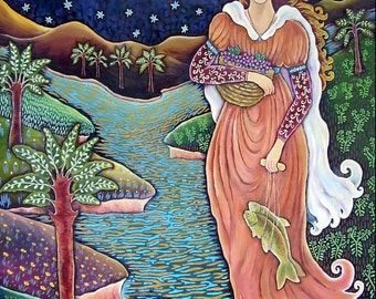 LADY OF THE CROOKED LAKE   8 x 10 Matted Print      Original Oil Painting By DEE