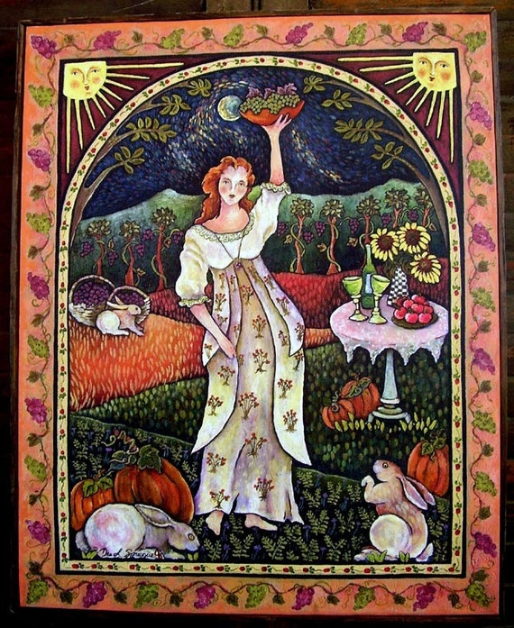 FALL MOONLIGHT MAIDEN   Framed Canavs Giclee from Original Oil painting by Dee Sprague