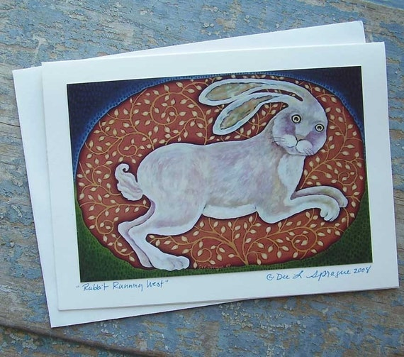 RABBIT RUNNING WEST  ZODIAC GREETING CARD By Dee Sprague