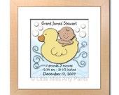 Birth Announcement Print - Rubber Ducky Design (Boy)