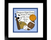 Birth Announcement Print - Sports Design