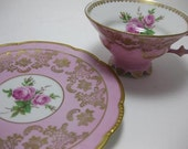 Such a Lady Pretty Pink and Gold Mitterteich Floral Footed Teacup and Saucer