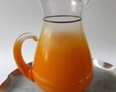 Large Virginia Glass Blendo Bright Orange & Frosty Mid Century Glass Pitcher