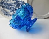 Bright Blue Vintage Fenton Candleholder Footed Bowl