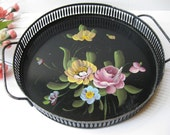 Handpainted Black Floral Tole Tray - Vintage Chic