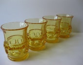 Vintage Kings Crown Amber Yellow Glasses Set of Four