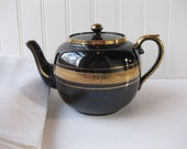 Vintage Gibsons English Black and Gold Teapot
