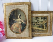 Vintage Italian Antiqued Wall Plaque Pair