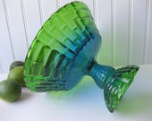 Vintage Jeannette Glass Louisa Blue and Green Flash Footed Fruit Bowl