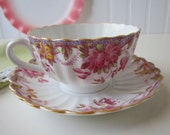 Vintage Spode Irene Pink Yellow Floral Teacup & Saucer