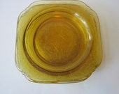 Vintage Federal Glass Madrid Amber 1930s Depression Glass Salad Plates Set of Four - Discount