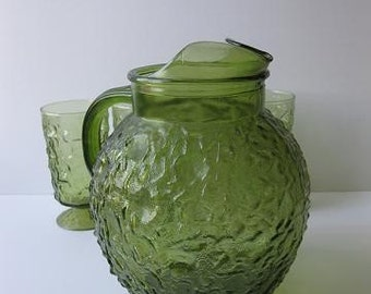Vintage Anchor Hocking Lido Avocado Green 3 Qt Pitcher