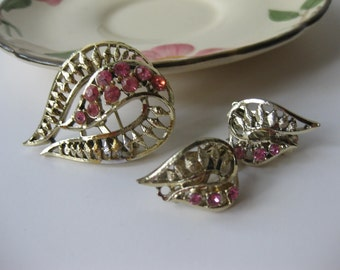 Vintage Goldtone and Pink Rhinestone Brooch and Earrings Set - Discount