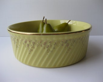 Vintage Yellow and Gold Floral Hall's Bowl