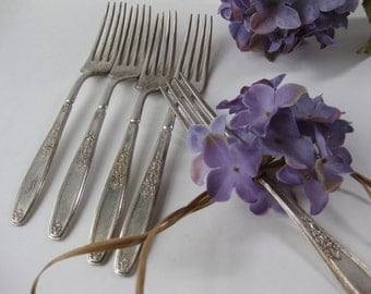 Vintage 1847 Rogers Bros Silverplate Dinner Forks Set of Five