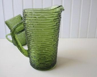 Vintage Anchor Hocking Soreno Avocado Green Juice Pitcher