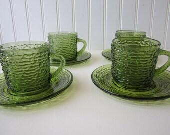 Vintage Anchor Hocking Avocado Green Soreno Cups & Saucers Set of Four