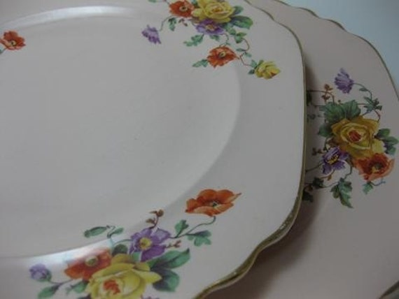 Vintage Shell Pink Ware Pair of Floral Plates