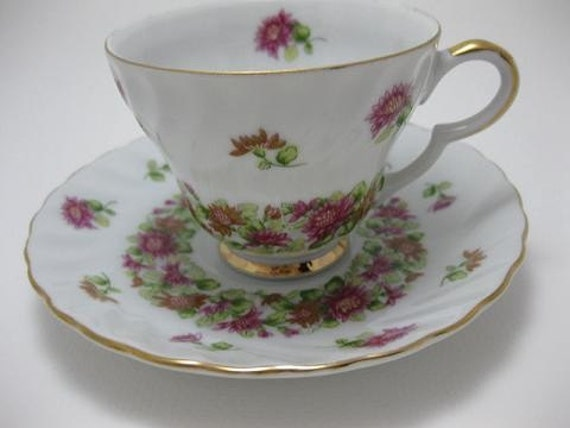 Vintage Lefton Hand Painted September Aster Teacup and Saucer