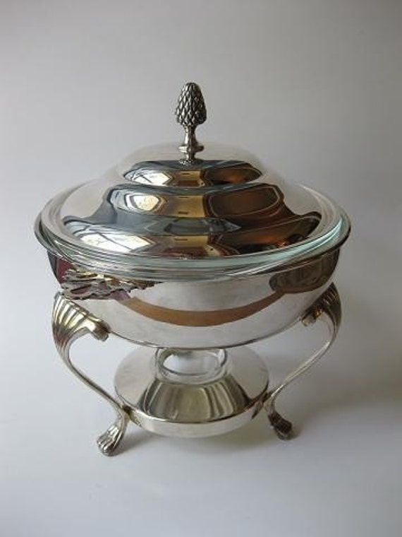 Elegant Vintage Kent Silver Plate Chafing Dish With Pyrex Bowl
