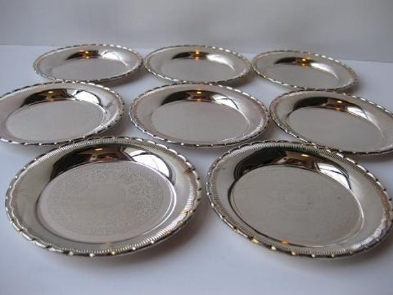 Vintage Silverplate Sweden Coasters Set of Eight