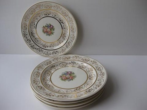 Vintage Atlas Dessert Plates with Floral Design and 22 Karat Gold Trim Set of Five