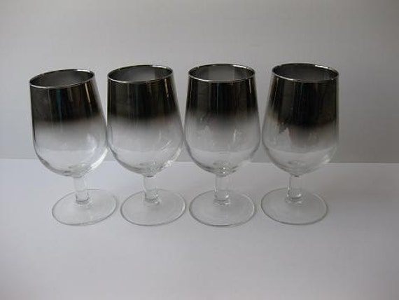 Vintage Silver Trimmed Wine Glasses Set of Four