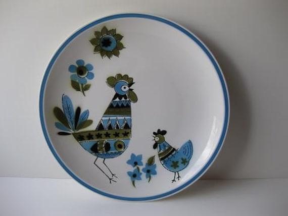 Vintage Retro Ceramic Guild Cabala Blue, Avocado Green, and Black Serving Platter